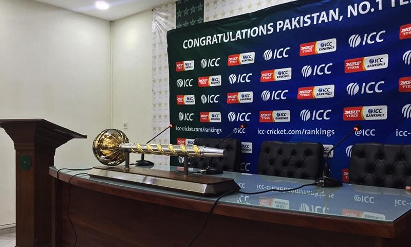 ICC Test Championship mace. — Photo: Ahsan Iftikhar Nagi