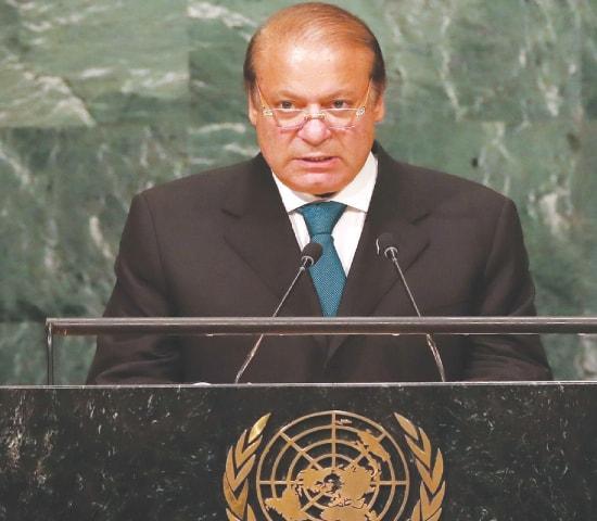 PRIME Minister Nawaz Sharif addressing the General Assembly on Wednesday.—AFP