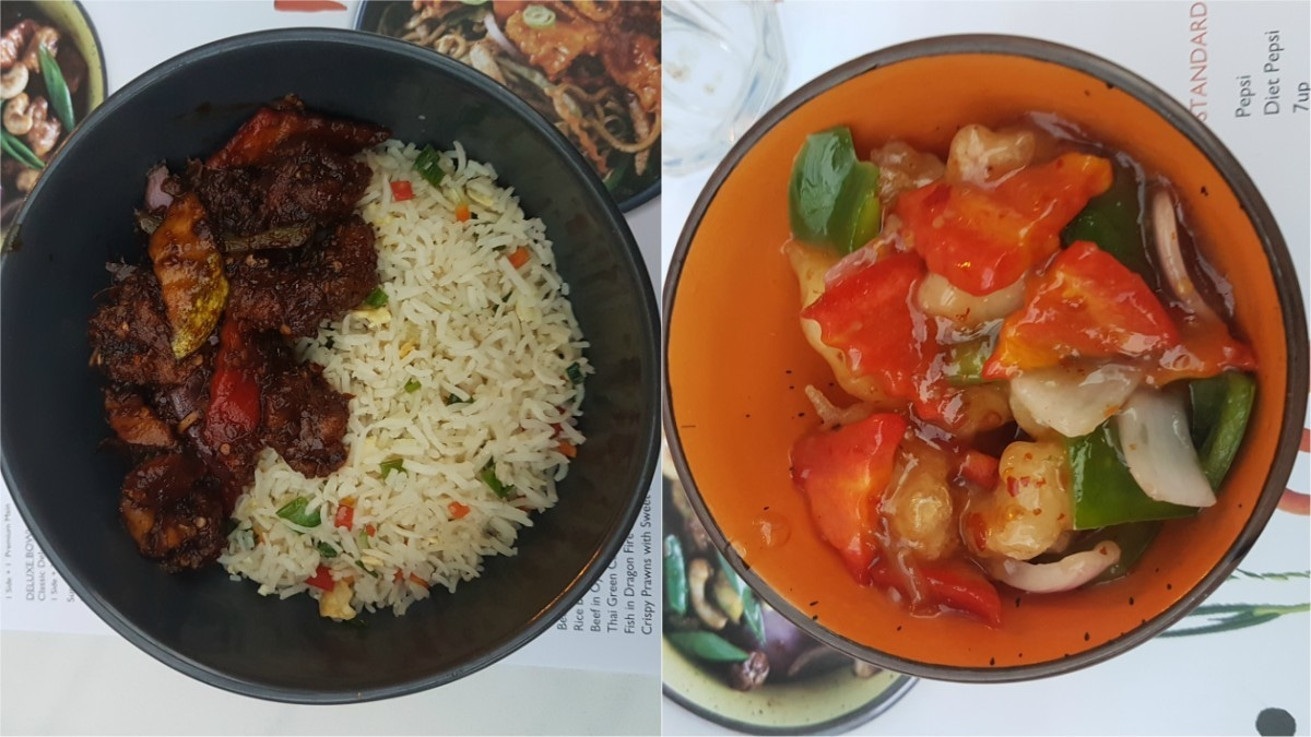 The crispy prawns in sweet and sour chilli sauce (right) was the star of the night!