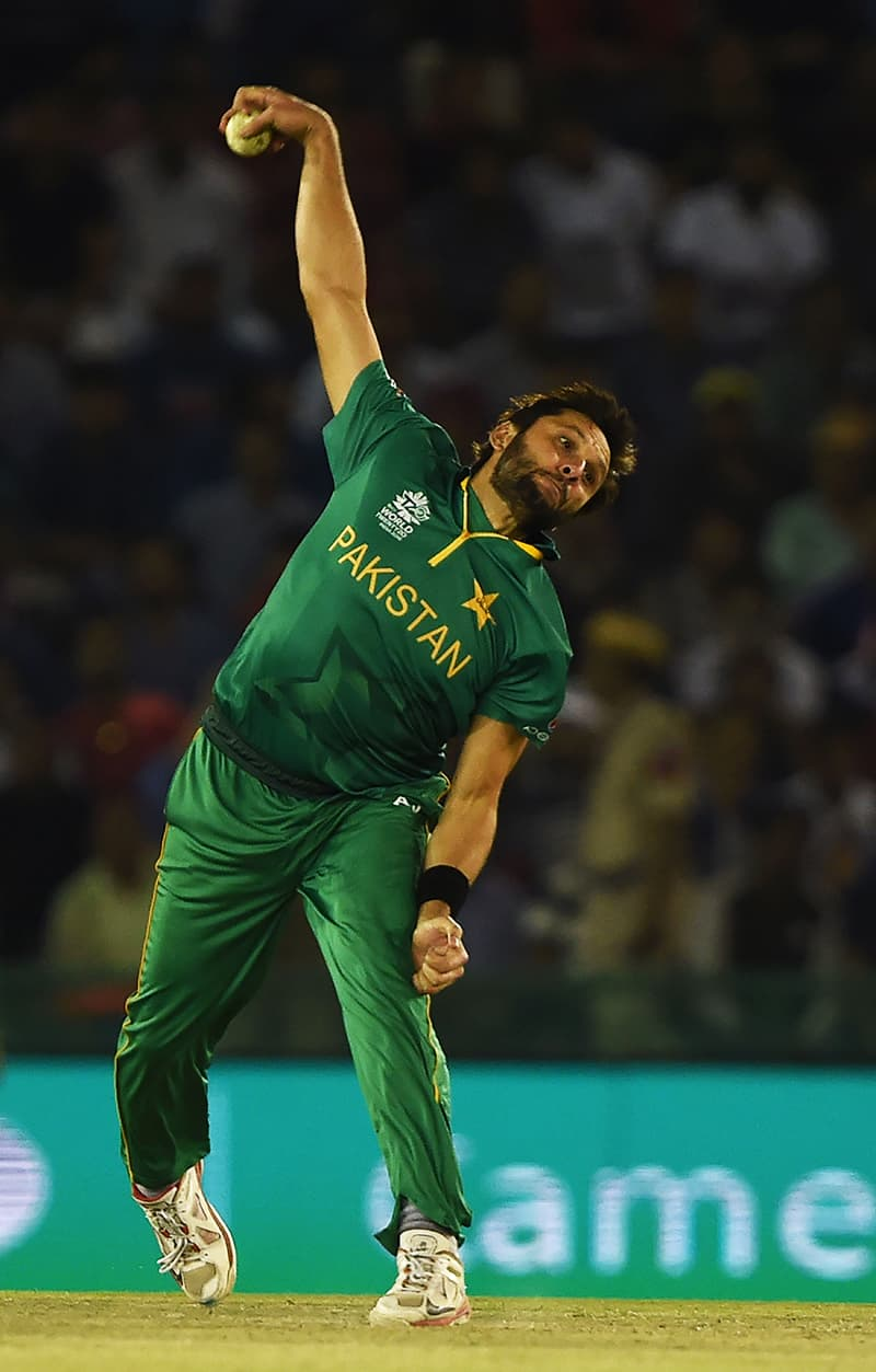 Afridi bowls during the World T20. — AFP