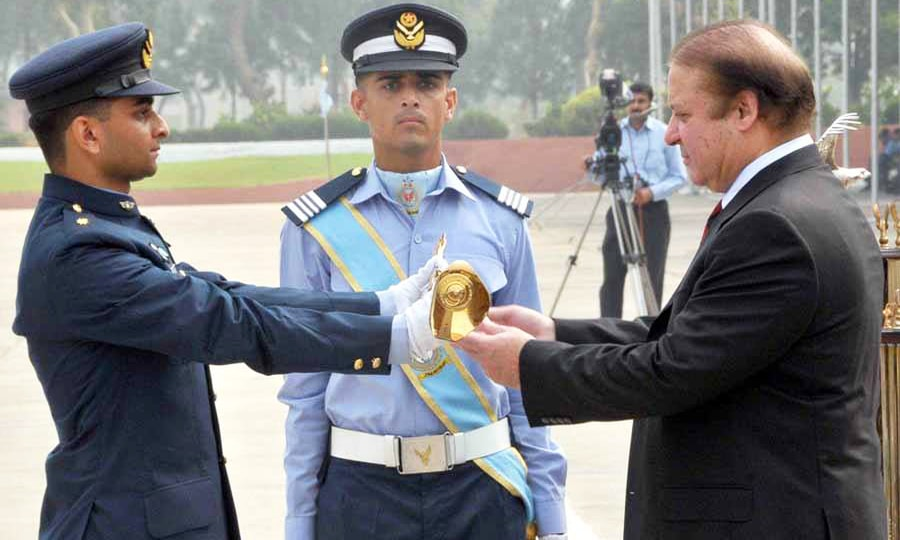 "F/L Omer Shehzad was awarded ""Sword of Honour"" during training. —Photo courtesy Facebook"