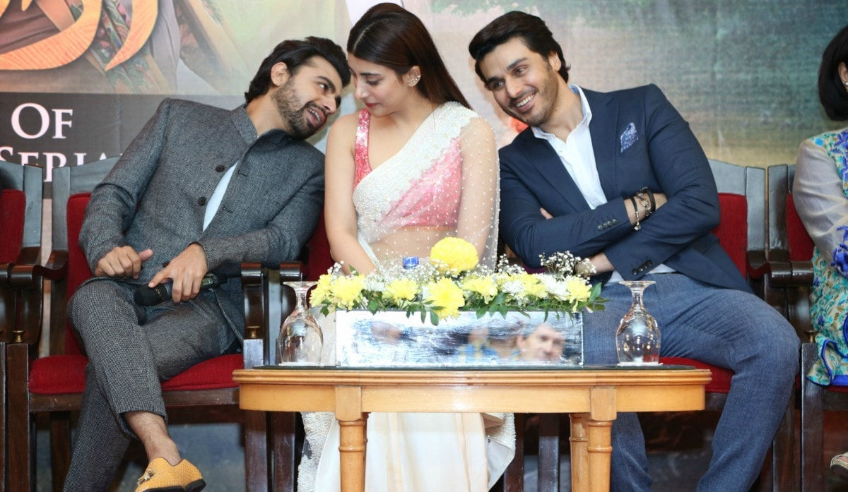 Farhan Saeed, Urwa Hocane and Ahsan Khan at the success party and finale preview of Udaari earlier this week - Publicity photo