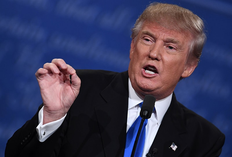 Donald Trump gestures during the first presidential debate.— AFP