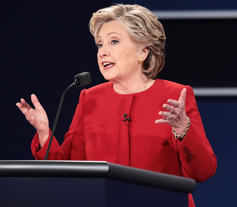 Hillary Clinton speaks during the Presidential Debate.— AFP