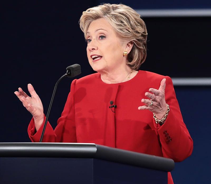 Hillary Clinton speaks during the Presidential Debate.— AFP