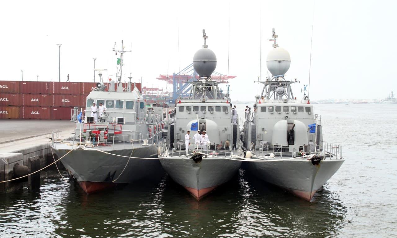 Iranian naval fleet docks at the Karachi port. —Photo courtesy Pak Navy