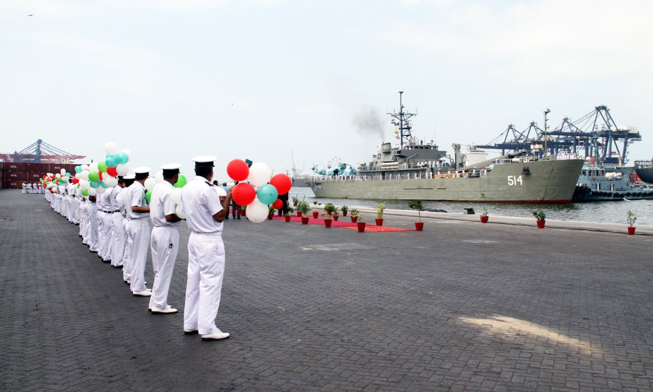 The Iranian vessels were received by  officers and sailors of Pakistan Navy. —Photo courtesy Pak Navy