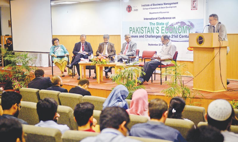 Russian Consul general Oleg N. Avdeev speaks at the conference on the state of Pakistan's economy at the IoBM on tuesday.—Fahim Siddiqi/White Star