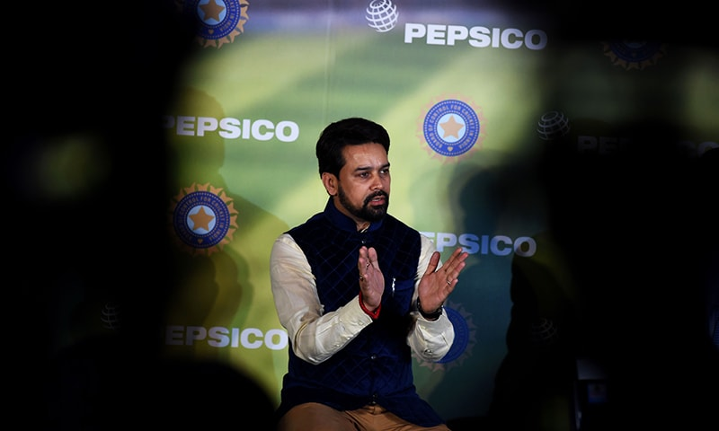 BCCI president Anurag Thakur speaks during a press conference in New Delhi. — AFP/File
