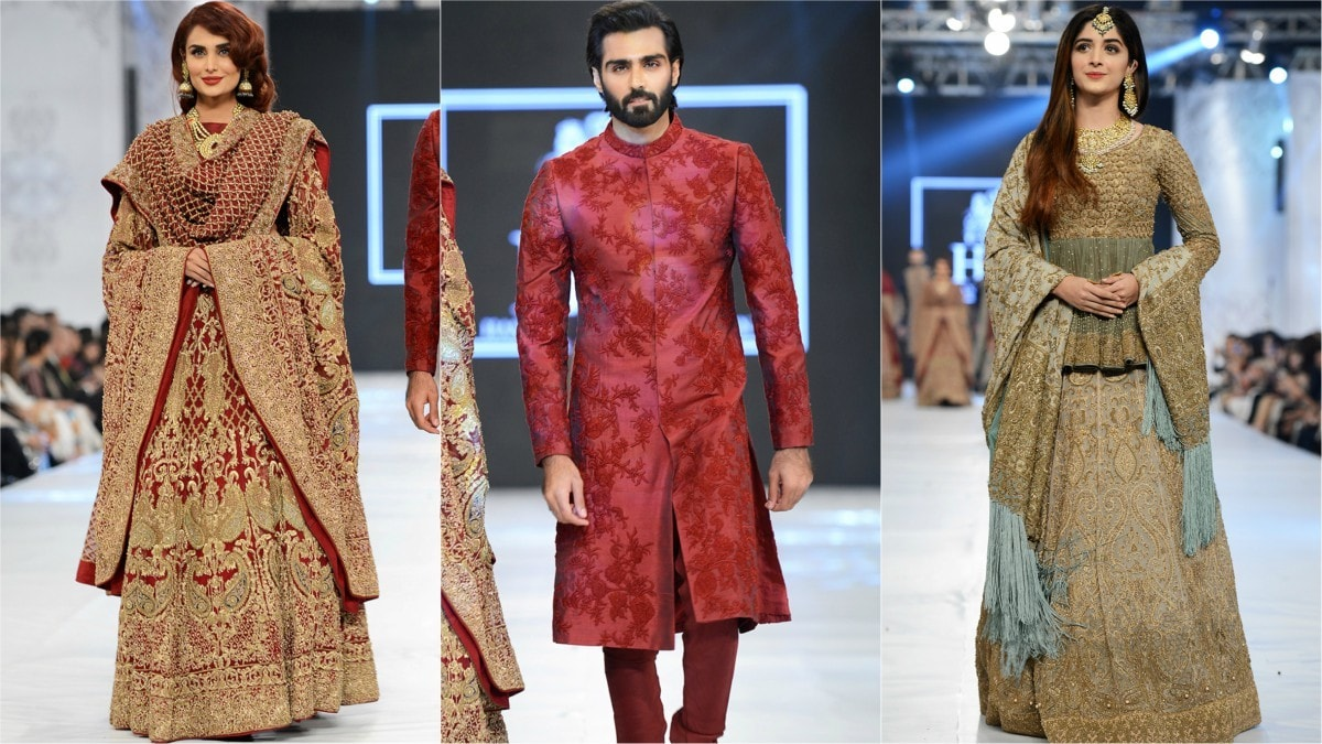 The designer loves the red bridal and the ensemble worn by Mehreen Syed (left) reflected the HSY of yore