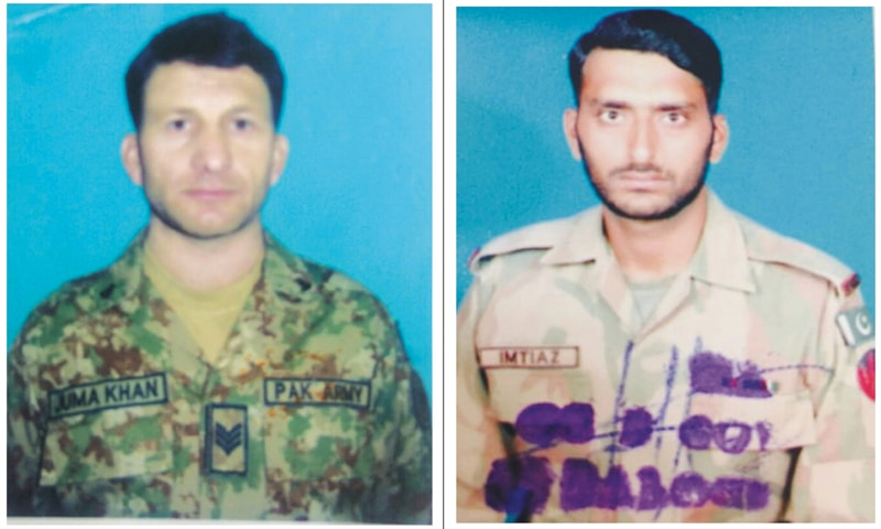 HAVILDAR Jumma Khan (left) and Naik Imtiaz who lost their lives in the Indian firing, according to ISPR.