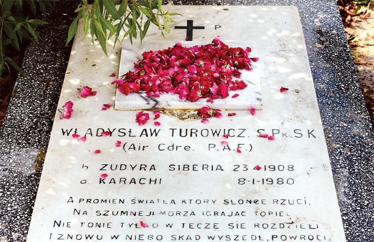Turowicz is buried at the Karachi Christian Cemetery -Photos by Tahir Jamal/White Star. Courtesy Pakistan Air Force Museum.