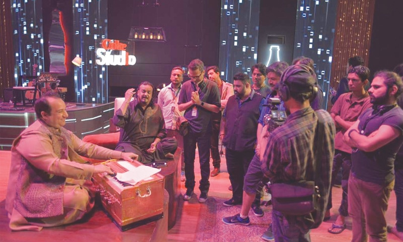 Rahat Fateh Ali Khan and Amjad Sabri with the Coke Studio team