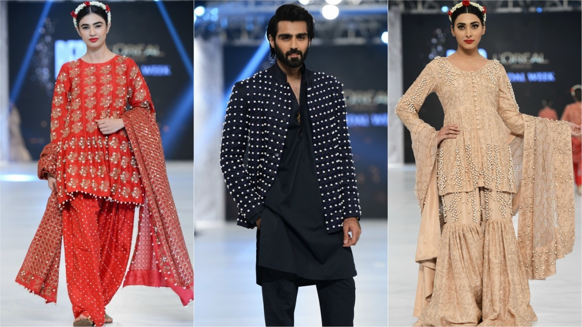 The one redeeming garment in the lineup was the bead-worked jacket worn by Hasnain Lehri.