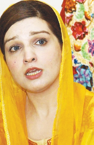 Mashaal Malik addressing a press conference on Saturday.—Online