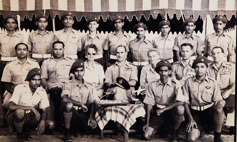 Air Commodore Wladyslaw Turowicz (Second from right), Mrs Zofia Turowicz (Third from left) with other officers and cadets (1954, Chaklala)