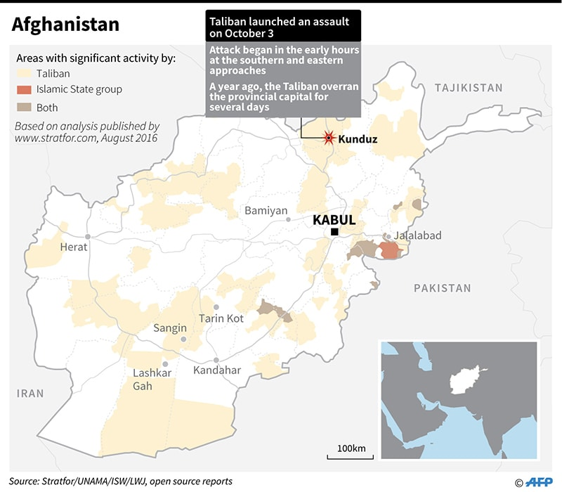 A map of Afghanistan showing areas with significant Taliban activity. ─ AFP