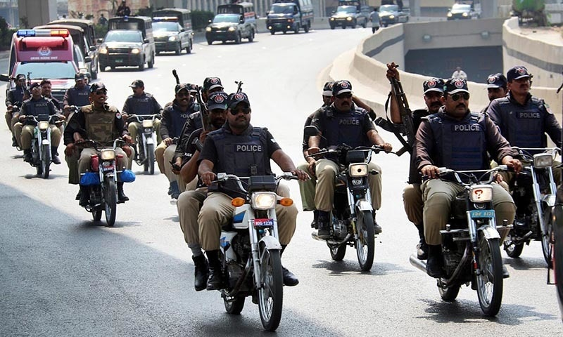 Police personnel patrolling in the garrison city of Rawalpindi. —Online