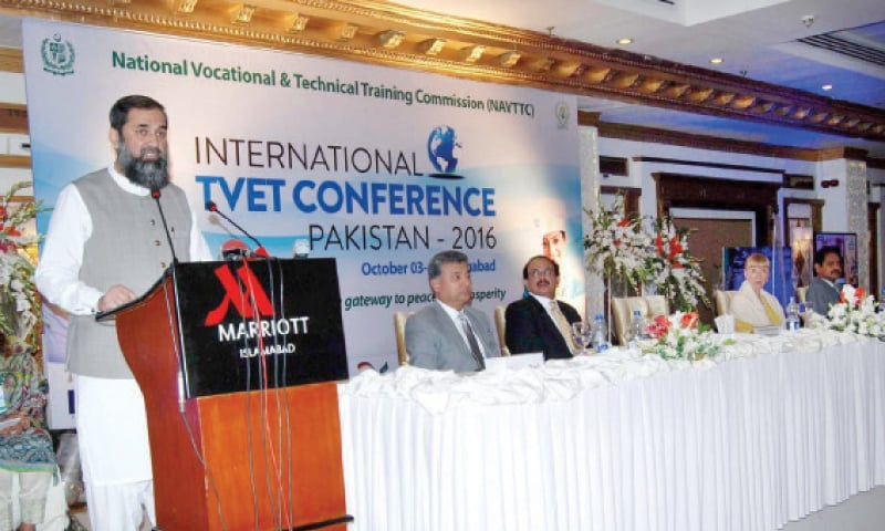State Minister Balighur Rehman speaks at the TVET Conference-Pakistan 2016 on Monday. — APP