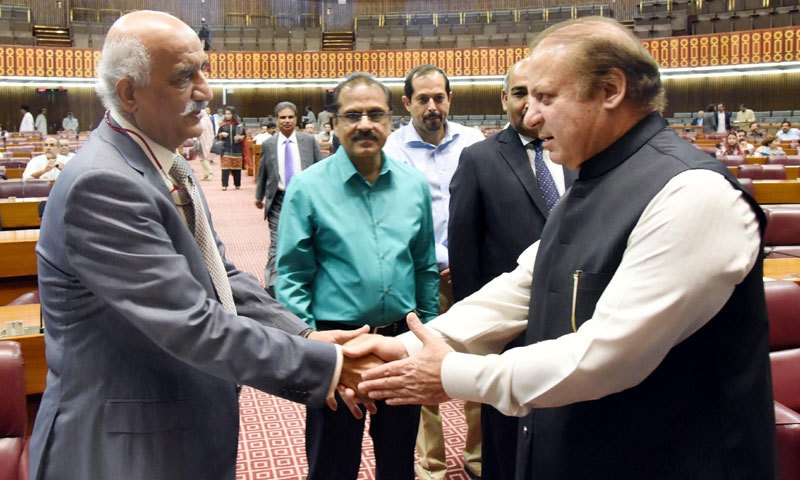 Prime Minister Nawaz Sharif shakes hands with Opposition Leader Khursheed Shah.