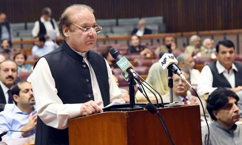 Driving tanks on farmlands cannot end poverty, Nawaz tells joint session of Parliament