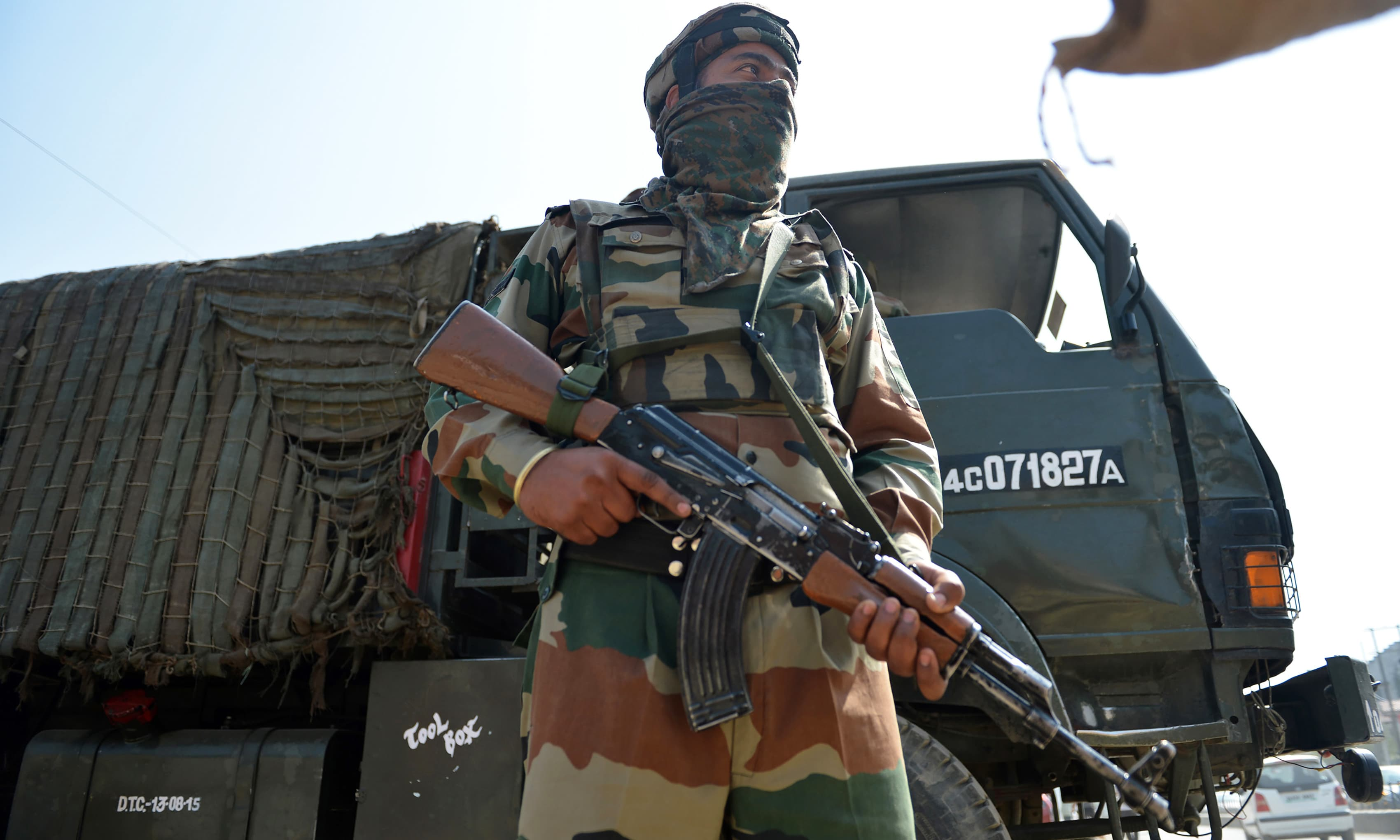 An Indian soldier stands guard outside Kashmir's main army headquarters in Srinagar. —AFP
