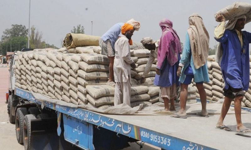 Labourers unload cement bags at a depot. Overall cement despatches rose 8.3pc to 8.976m tonnes in July-Sept 2016-17.—White Star