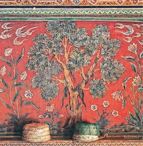 Floral motifs between geometric borders of the Wazir Khan Mosque.