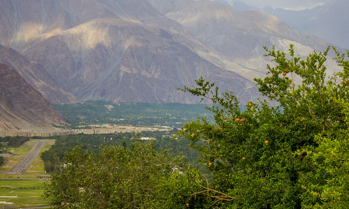Gilgit city with a view of the airport on the left