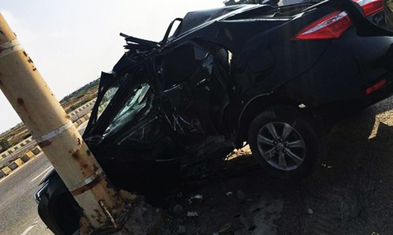 Shahlyla's car after the accident.—Image Courtesy: DawnNews