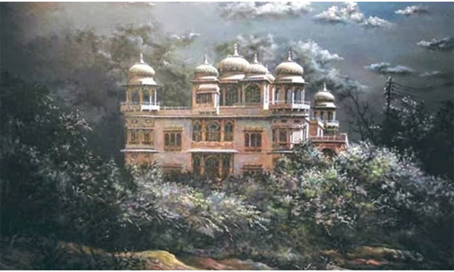 An old painting of The Mohatta Palace surrounded by shrubs and other coastal vegetation. The palatial house was built in 1927 by a businessman as a summer retreat close to the Clifton Beach. In 1964 it became the home of Mrs. Fatima Jinnah. She was the sister of Pakistan's founder, Muhammad Ali Jinnah.