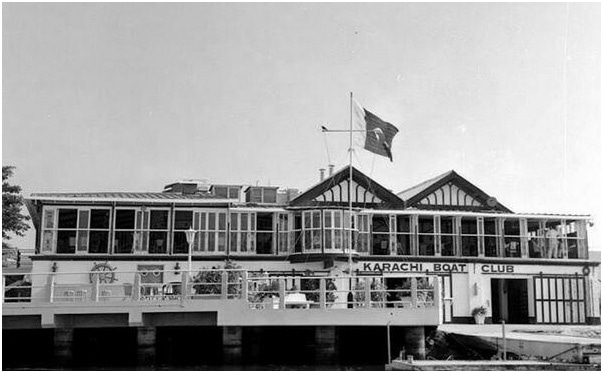 The Karachi Boat Club (KBC) in the 1950s. It was built in the 19th century along the same mangrove forest.