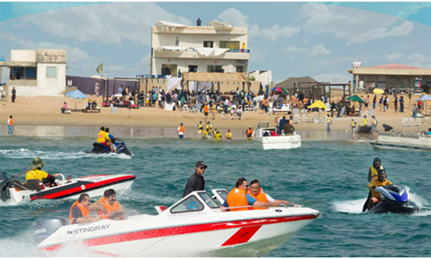 A watersports event at the popular Hawksbay Beach. It is one of Karachi's most popular resorts, even though it has begun to be encroached upon by a rapidly growing housing scheme in the area.