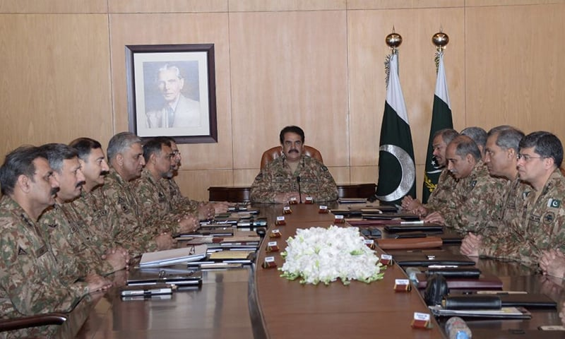 "Corps Commanders meeting at GHQ expresses serious concerns over the ""feeding of false and fabricated story"". —Photo courtesy ISPR"