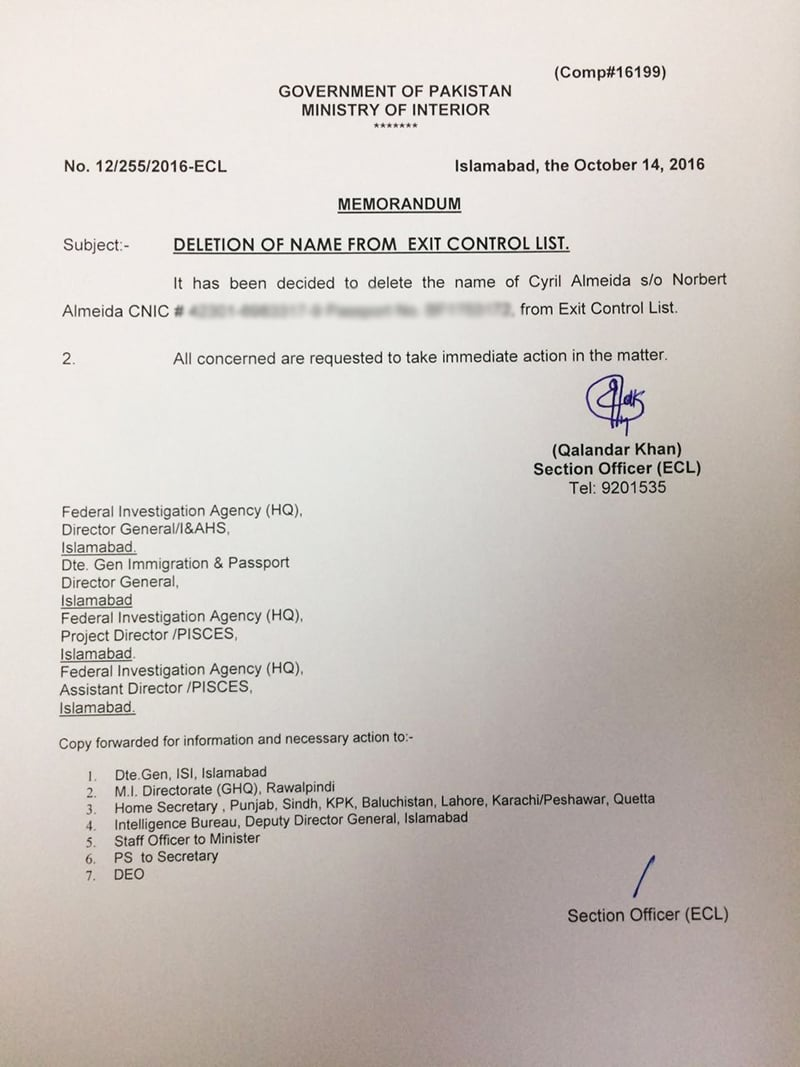 -Ministry of Interior notification