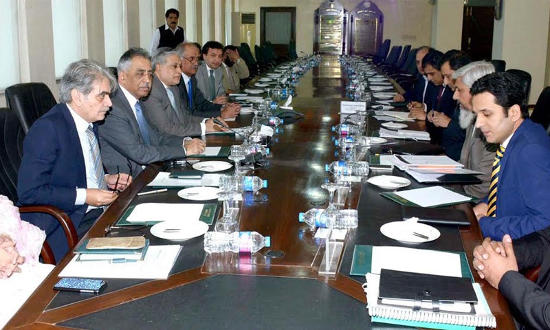 ISLAMABAD: Ishaq Dar chairs a meeting of Privatisation Commission on Friday.