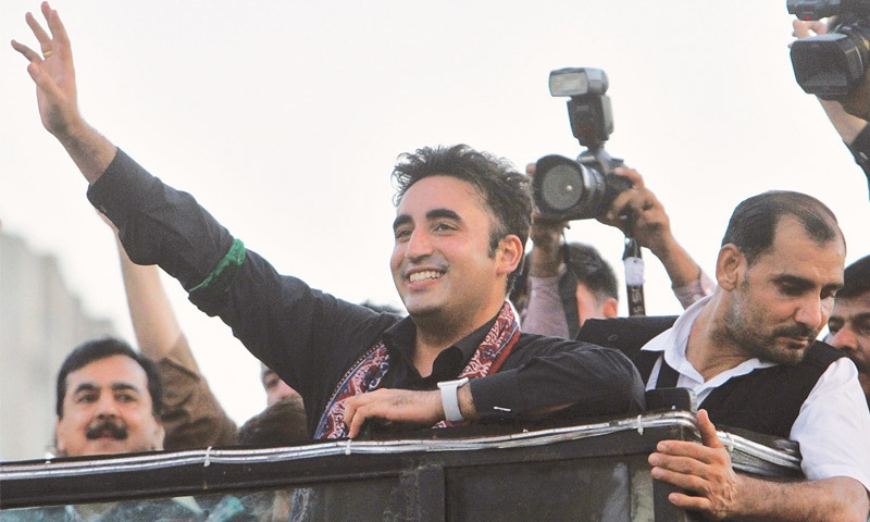 BILAWAL Bhutto-Zardari leads the rally.—AP