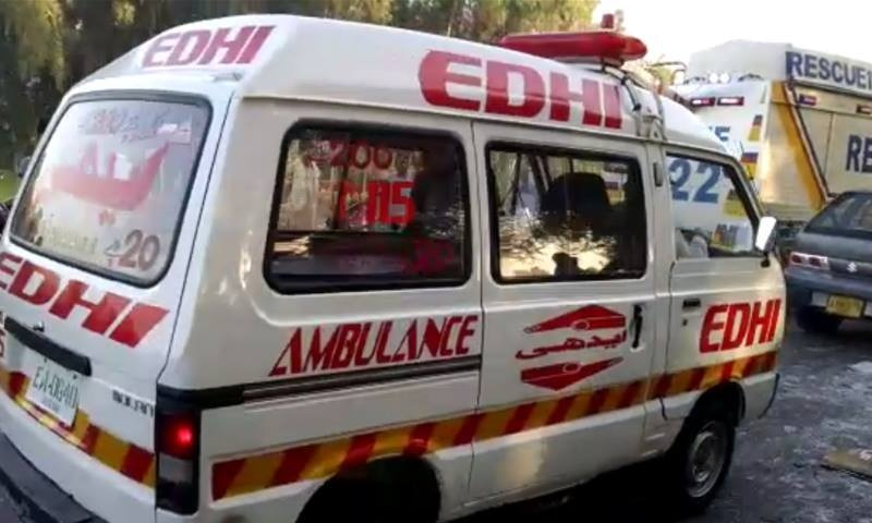 An ambulance at the site of the accident. ─ DawnNews