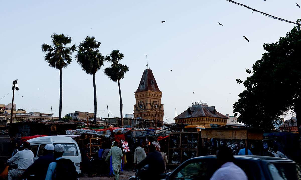 Palm trees dominate this view of Empress Market