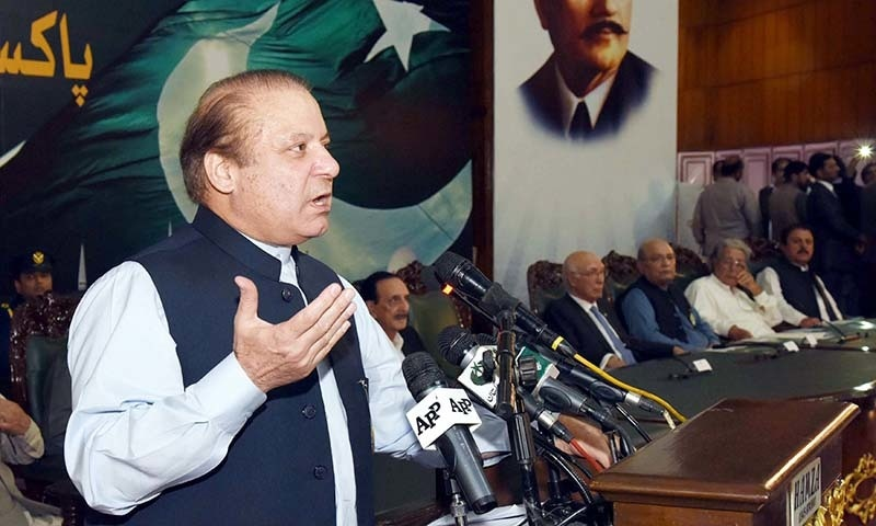 Prime Minister Nawaz Sharif addresses  during the PML-N Election Convention held in Islamabad. —PPI
