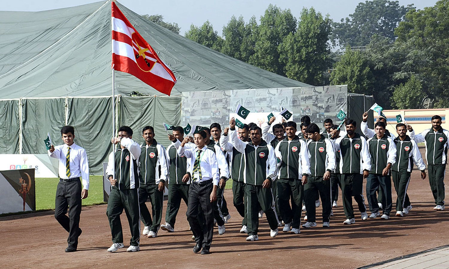 Players march-past during opening ceremony of first ever PACES competition. ─APP