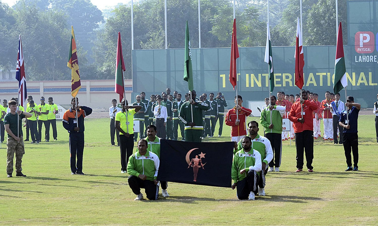 Players of different countries during opening ceremony of first ever Physical Agility and Combat Efficiency System competition. ─APP