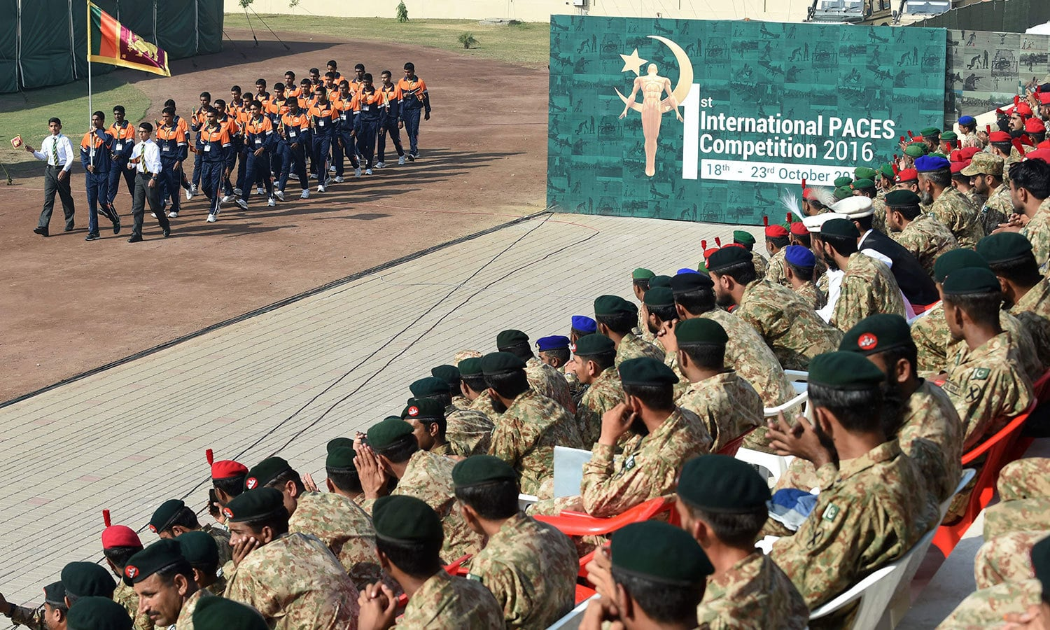 The Srilankan Army team arrives at the opening ceremony. ─APP