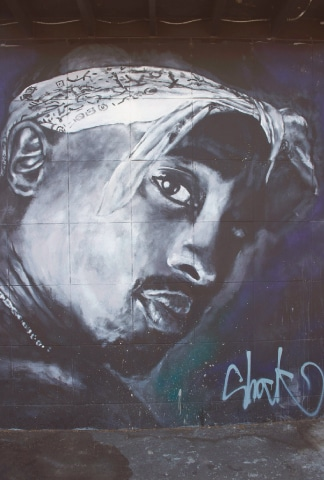 A wall dedicated to Tupac Shakur.—AFP