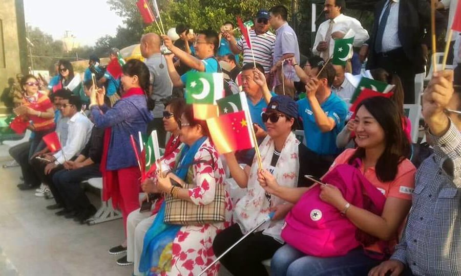 During their stay at Lahore the rally participants also witnessed flag lowering ceremony at Wagah Border. —Photo courtesy Facebook pages