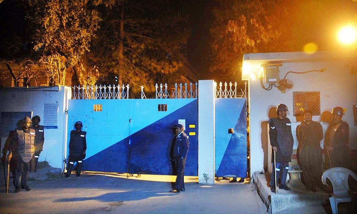 Police personnel seen standing outside Kohsaar police station. —Online