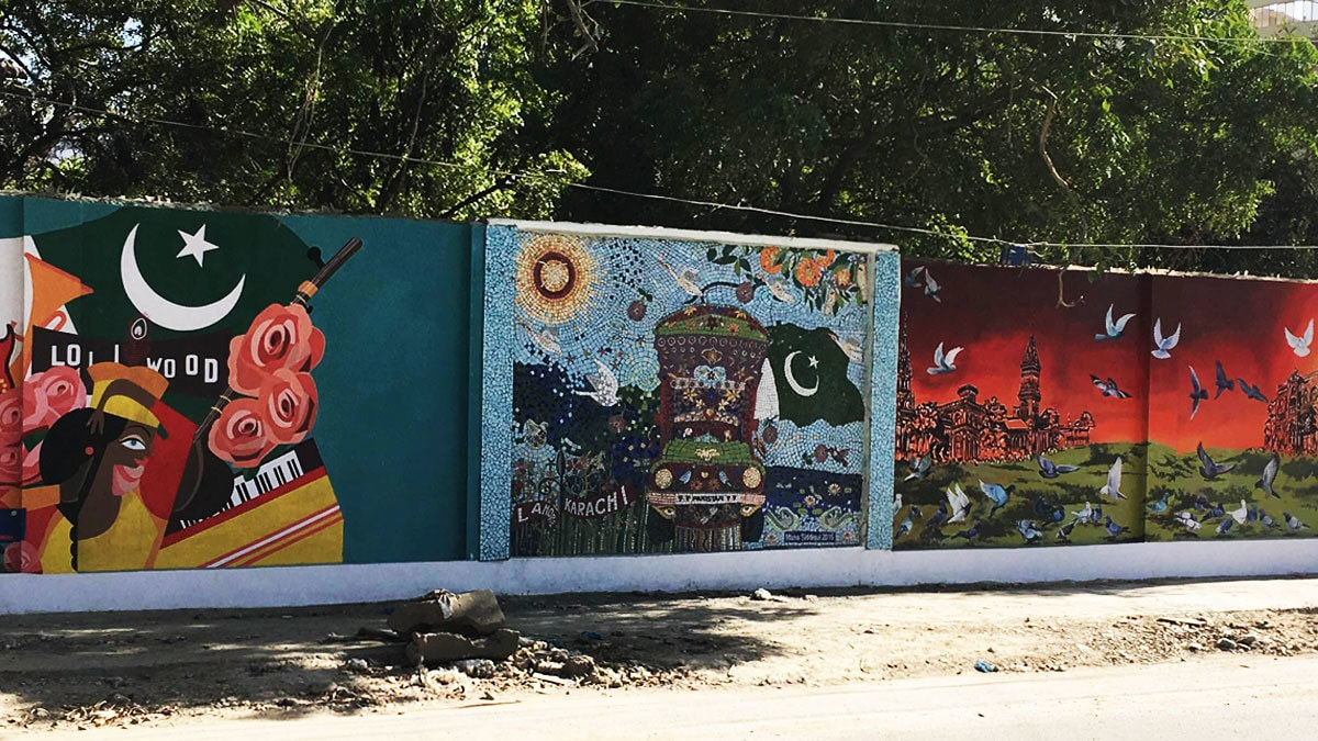 The mosaic, a part of the mural project by I Am Karachi. Photo: author.