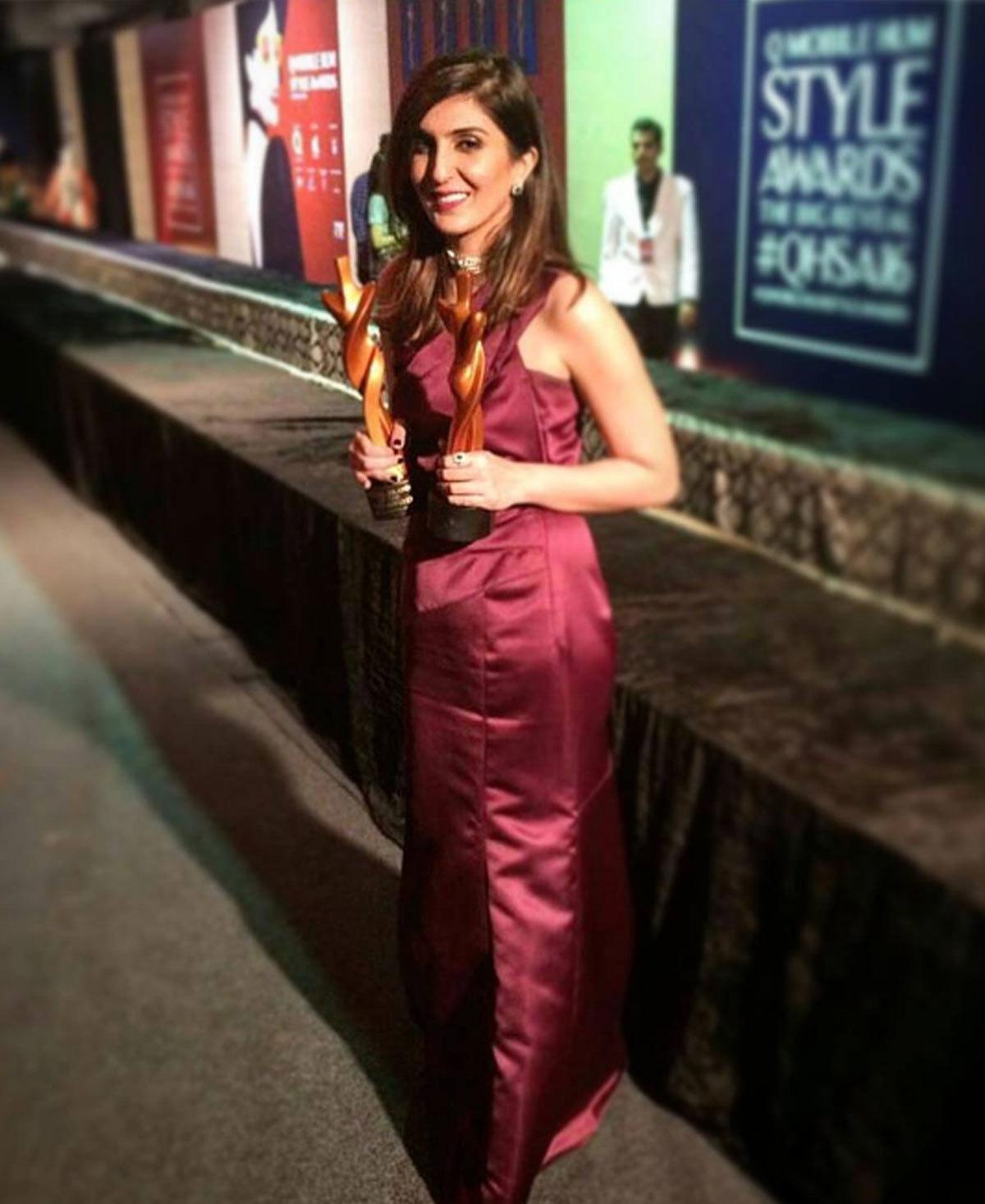 Khadija Shah proudly displaying her two awards. Photo: Instagram