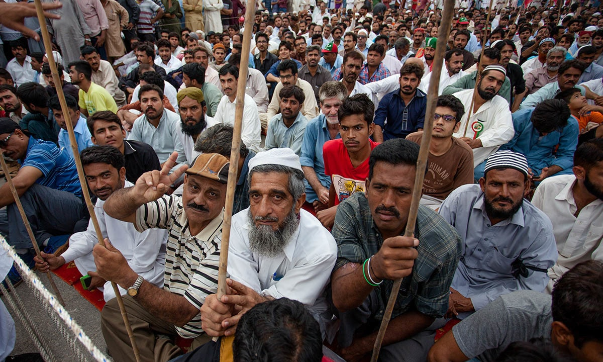 Workers of Pakistan Steel Mills protest on September 5, 2016