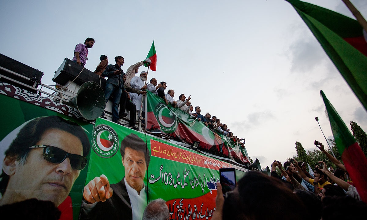 Imran Khan's stage at a protest in front of Pakistan Steel Mills, held on September 5, 2016
